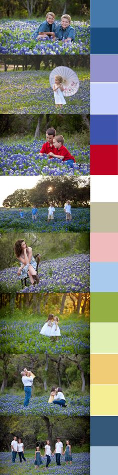 Best colors to wear for family portraits in the bluebonnets. Images created by Master Photographer Elizabeth Homan out of San Antonio, Texas. www.portraitsbyelizabeth.com