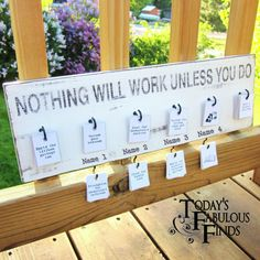 "MY FAVORITE CHORE BOARD!!! ""Each kids has their own hook for their jobs for the day.  When they finish the job, they move the card to the hook below their name. The jobs hanging from the hook on the left are extra jobs, things they can do for video game, computer, and movie time.  Oh yes, at our house they get to earn it!  However, there is no need to do extra jobs to play outside, make a craft, read, build Legos.......see how this works? ;)"" NOTE: This is the board that I ultimately chose!"