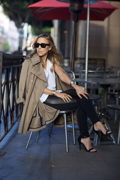 Trench Coat with Leather Leggings