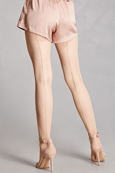 A pair of fishnet tights featuring a backseam detail and an elasticized waist. This is an independent brand and not a Forever 21 branded item. Nylons, Fishnet Tights, Pantyhose Heels, Lace Tights, Streetwear, Pantyhose Lovers, Lace Dress With Sleeves, Bell Sleeves, Chiffon Dress