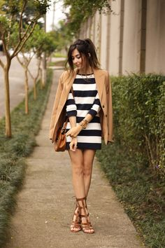 Navy blue striped dress with camel vintage blazer and gladiator sandals, springtime outfit.