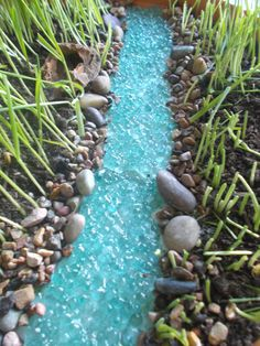 Bubbling River or River with Pond Miniature Garden Fairy Garden Faerie Garden Fairy River Gnome - garden landscaping Diy Garden Projects, Garden Crafts, Garden Art, Veg Garden, Garden Gnomes, Fairy Crafts, Garden Water, Mosaic Garden, Garden Pond