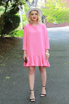 Pink Ruffled Hem Dress - via @poorlilitgirl