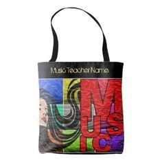 Music Teacher Tote PopArt Graffiti Personalized Tote Bag