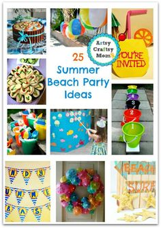 - It's the perfect time for a summer beach party! Here are 25 summer beach party ideas to help you kick start some serious summer fun! Kids Beach Party, Beach Kids, Holiday Activities For Kids, Party Activities, Easy Crafts, Crafts For Kids, Summer Parties, Summer Fun, Summer Ideas