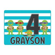 Personalized Ninja Turtle Quartet Birthday by LittleYellowHippo