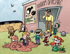 """Arkham Daycare for the Criminally Insane by Paul Hostetler - """"In the background you can see traces of l'il Penguin and l'il Catwoman, since I don't think they're Arkham natives, and l'il Killer Croc and l'il Mr. Zsasz I couldn't think of """"L'il"""" versions of. Only typing this do I realize that I forgot Mr. Freeze, and that he'd be the perfect """"I don't want to play"""" friend for l'il Bane in the corner there. Oh well."""""""