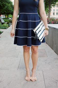 Navy & White Striped