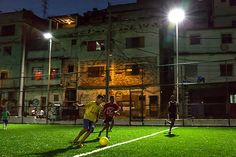 The oil company refurbished a community football pitch in Rio de Janeiro that's both solar and people-powered