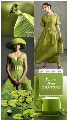 '' Pepper Stem – Pantone Spring/ Summer 2019 Color '' by Reyhan S. '' Pepper Stem – Pantone Spring/ Summer 2019 Color '' by Reyhan S. Pinterest Trends, Color Trends, Color Combinations, Quoi Porter, Moda Casual, Fashion Models, Fashion Trends, Fashion Colours, Pantone Color