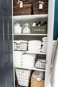 7 tips for perfect linen closet organization for the best ways to sort sheets, keep cleaning supplies handy, make laundry easier, and have guest amenities in easy reach. #organizing #linencloset #organization #bathroomorganizing