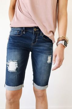 Denim Bermuda Shorts Dark Wash Five Pocket Cut Distressed Detail Cuffed Hems Also Available in Light Wash + White Size Chart Pretty Outfits, Cute Outfits, Cute Fashion, Fashion Outfits, Modest Shorts, Add Sleeves, Bermuda Shorts, Celebrity Style, Feminine