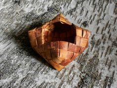 Plaited Birch bark basket Rustic container Home by BirchBirds