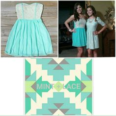 Strapless mint green dress with cream lace detail Perfect for spring and summer! Structured chest for easy, carefree wear (and no awful strapless bra needed!) Dresses Mini