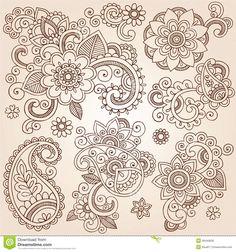 Henna Mehndi Paisley Flowers Vector Tattoo Illustr Royalty Free Stock Image - Image: 28440656