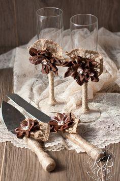 Wedding  cake server and knife & champagne от RusticBeachChic