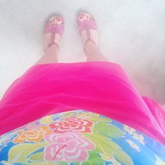 Tilly Buttons Delphine Skirt on shocking pink babycord. Simplicity1364 sleeveless top.