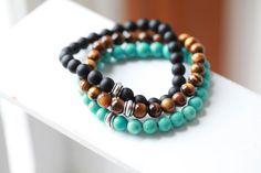 Designer Gem Stone Bracelet with Silver Accents - Mens Bracelets - Beaded men Bracelet