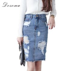 3af619044d Plus Size Denim Skirt Women 2017 Spring/Autumn Vintage Ripped Denim Skirt  Women Slim Office Skirt Sexy Pencil Skirt Jeans - Bottoms
