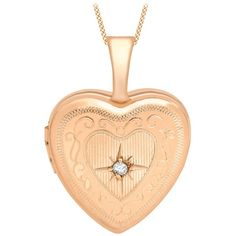 IBB 9ct Gold Diamond Set Etched Heart Locket Pendant , Rose Gold ($175) ❤ liked on Polyvore featuring jewelry, pendants, rose gold, gold heart shaped locket, white gold pendant, heart locket, heart pendant and rose gold jewelry