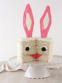 Bunny Surprise Cake Recipe ~ A simple white cake with a fun bunny surprise inside!
