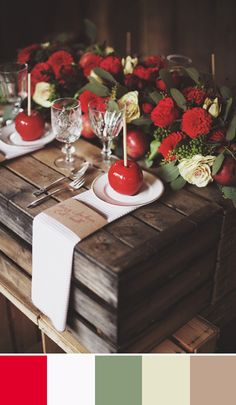Love the punch of red paired with the neutral tones in this rustic tablescape. Source: Whimsical Wonderland Weddings. #tablescape #rustic #red
