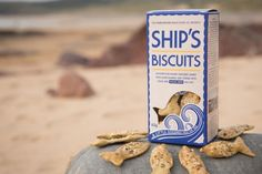 Ship's Biscuits - These little crackers are shaped like fish. Inspired by the hard tack crackers sailors used to take on long voyages before the invention of tinned foods and preservatives, the old fashioned crackers would stay hard for months. The daily allowance on board a royal navy ship was one gallon of beer and one pound of Ship's Biscuit. Our biscuits are baked with more luxurious ingredients like butter and milk. We've also added some laverbread, dulse and Halen Mon sea salt.