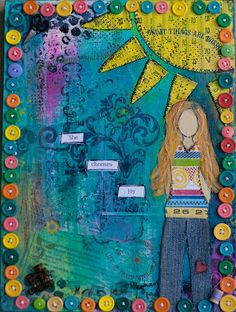 """""""she chooses joy"""" -- mixed media canvas for the Choose Joy Auction and Benefit for Ashley Hackshaw (Lil Blue Boo)"""