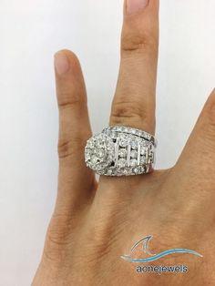 Ladies White Gold Over Lab Diamond Engagement Ring Round Wedding Band Bridal Set Best Engagement Rings, Round Diamond Engagement Rings, Engagement Wedding Ring Sets, Diamond Wedding Rings, Bridal Rings, Wedding Ring Bands, Diamond Rings, Gold Rings, Beautiful Wedding Rings