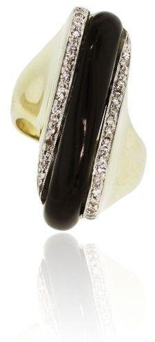 14K Yellow Gold Diamond Onyx Ring
