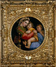 Raphael et son tableau Tondo : La Madone à la chaise ; 1516 ; le cadre délimite une zone qui oriente le regard, il produit une agitation qui attire l'oeil jusqu'à l'oeuvre, c'est un CHAMP DE FORCE vers le tableau.