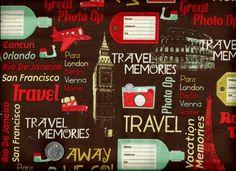 1/2 Yard Quilt Fabric World Traveler Travel Memories Cities Sites   auntiechrisquiltfabric - Craft Supplies on ArtFire