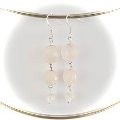 Handmade triple pendant faceted rose quartz earrings made with sterling silver hooks Gemstone Earrings, Pearl Earrings, Drop Earrings, Handmade Items, Handmade Gifts, Lapis Lazuli, Rose Quartz, Hooks, Gemstones