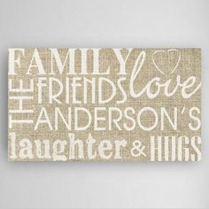 Family & Friends Personalized Canvas Sign