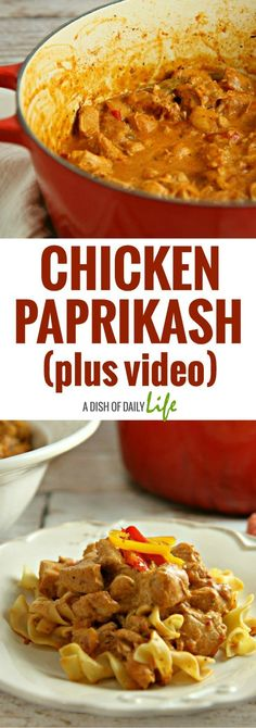 Creamy and delicious, this Hungarian Chicken Paprikash recipe is an easy comfort food dish with a minimum of prep time, perfect for a weeknight dinner! Chicken | Easy recipes | Main Dishes