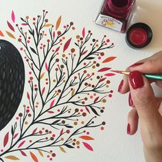 "4,897 Likes, 41 Comments - Maya Hanisch / Pili (@maya_hanisch) on Instagram: ""having so much fun painting this leaves with this awesome @winsorandnewton inks / pintando hojitas…"""