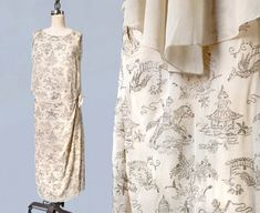 SELTEN 1920er Jahre Kleid / Narrative Figural von GuermantesVintage