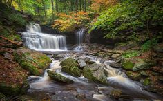 Download wallpapers Ricketts Falls, waterfall, 4k, autumn, forest, river, autumn landscape, USA, Ricketts Glen State Park, Pennsylvania