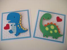 Dinosaur Valentine Cards, Handmade Valentine Cards, Kids Valentine Cards, Valentine's Day, Handmade Valentine's, Dinosaurs. , via Etsy.