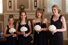 Bridesmaids in black and pearls with beautiful fabric flower bouquets  http://poppyandjune.com/2015/08/10/real-wedding-jack-pearl/