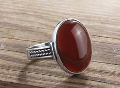 925 silver mens ring 5 to 14 sizes Red Agate Ring by ATAjewels #mensring #menssilverring #manring #agatering #mensredring #sterlingsilverring