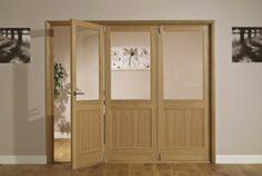 B&Q Fontburn Glazed Right Hand Folding Interior Tri-Fold 26156 Fabric Room Dividers, Room Divider, Room Divider Doors, Divider Design, Metal Room Divider