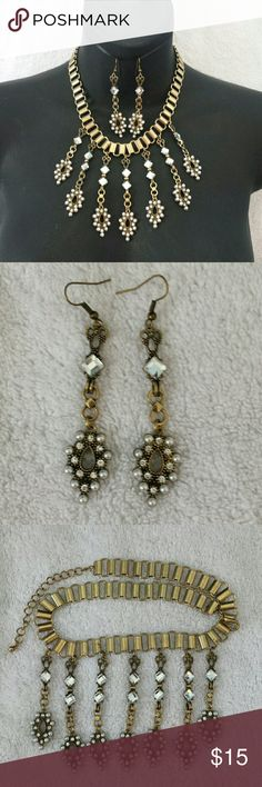 Bronze Fashion Set NOT a Crafted Creation original.16.5 -19.5 in adjustable length, earrings are 3 in long. Jewelry