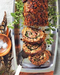 Thanksgiving buffet recipe with herbed roulade with prosciutto and cheese