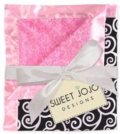 Amazon.com: Pink and Black Minky and Satin Baby Blanket by Sweet Jojo Designs: Baby
