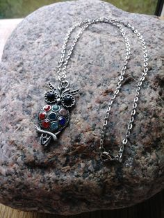 Owl Pendant Necklace, Silver Owl Necklace, Rhinestone Pendant Necklace, Bird, Red, Blue, Yellow, Black, Silver Chain by PurpleMoonJewelryCA on Etsy