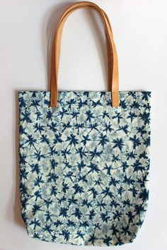 Small Shapes Shibori Plant Dyed Cotton Tote Bag Shoulder Bag with Leather Handles Indigo Blue