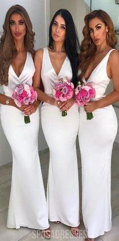 Cuello V Blanco Sexy Barato en el Largo Vestidos de Dama de honor en Línea, WG577#bridesmaids #bridesmaiddress #bridesmaiddresses #dressesformaidofhonor #weddingparty #2020bridesmaiddresses