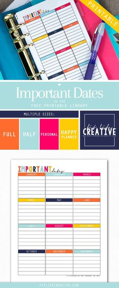Free printable Important Dates planner insert. Available in multiple sizes including Full page, half page, personal size and Happy Planner sizes.