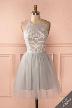 Colomba - Grey embroidered bust halter tulle dress - 250$ - 1861